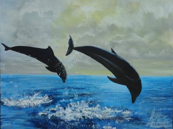 Captiva Island Painting - Dolphin Date by Jk Mcgreens
