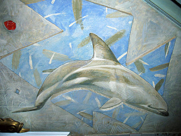 Wall Art - Painting - Dolphin. Kindergarten Wall Composition. 1988 by Yuri Yudaev-Racei