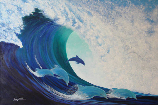 Dolphin Wave Art Print by Jeffrey Oldham