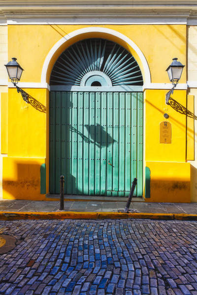 Calle Wall Art - Photograph - Door And Cobblestone Street In Old San Juan by George Oze