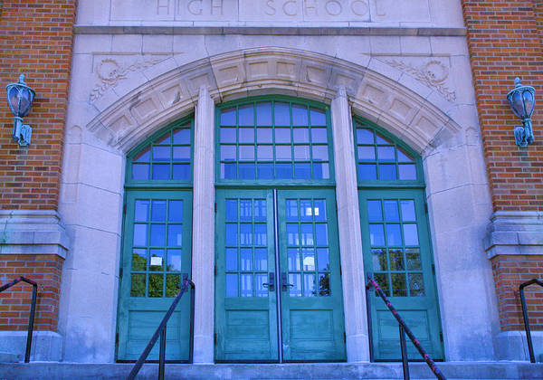 Wall Art - Photograph - Doors To Old High School  by Steven Ainsworth