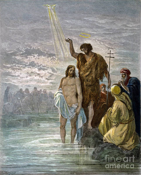 Drawing - Baptism Of Jesus by Gustave Dore