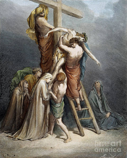 Wall Art - Drawing - Descent Of Jesus by Gustave Dore