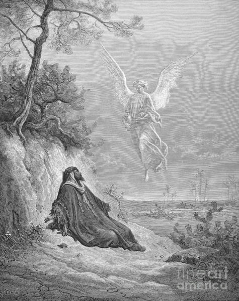 Drawing - Elijah And Angel by Gustave Dore