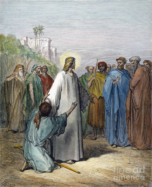 Wall Art - Drawing - Jesus And The Possessed by Gustave Dore