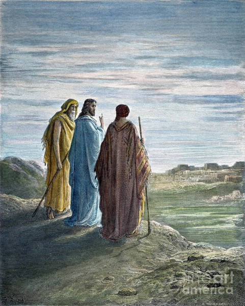 Wall Art - Drawing - Jesus At Emmaus by Gustave Dore