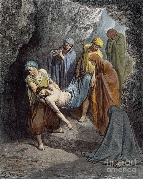 Wall Art - Drawing - Burial Of Jesus by Gustave Dore