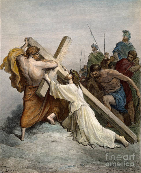 Wall Art - Drawing - Jesus With Cross by Gustave Dore