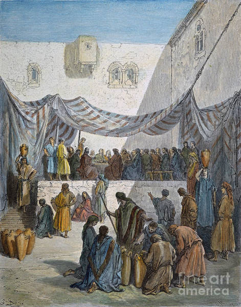Drawing - Marriage At Cana by Gustave Dore
