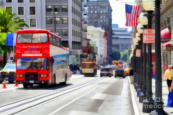 Photograph - Double Decker Sightseeing Bus Along Powell Street In San Francisco California . 7d7269 by Wingsdomain Art and Photography