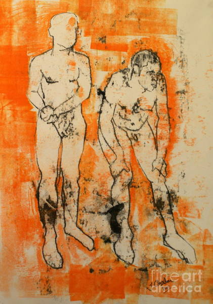 Male Model Drawing - Double Male Nude by Joanne Claxton