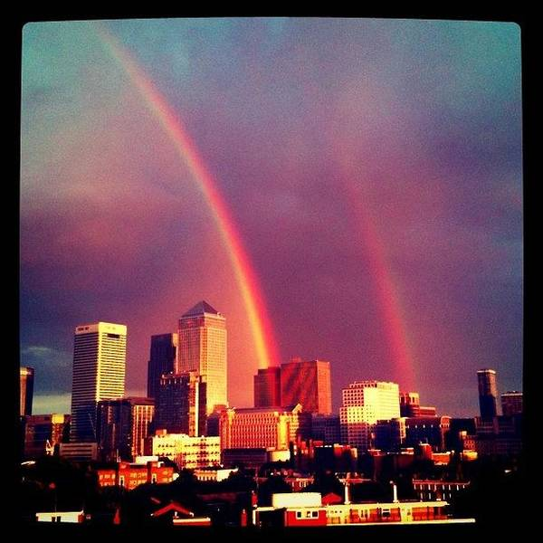 Wall Art - Photograph - Double Rainbow Over Canary Wharf - Paul by Tom Gibby