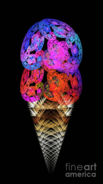 Digital Art - Double Scoop Ice Cream Cone by Andee Design