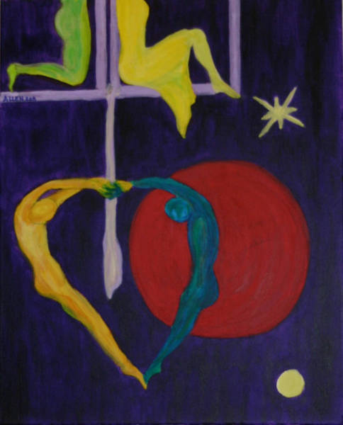 Trapeze Painting - Double The Love I by Cassandra Allen