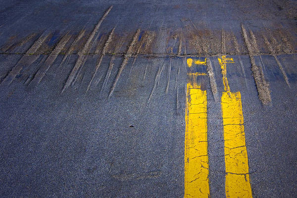 Photograph - Double Yellow Lines On A Road In San Diego by Randall Nyhof