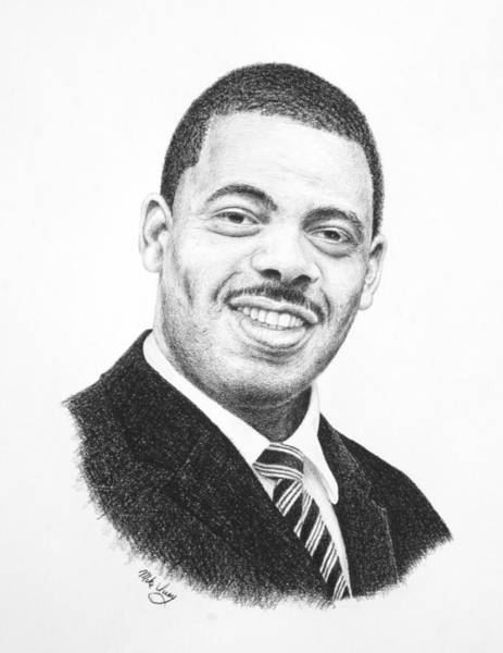 Drawing - Dr. Kenny Baldwin by Mike Ivey