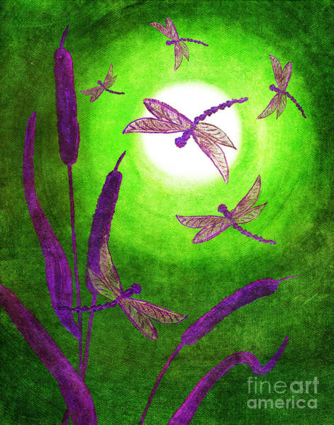 Dragonflies Digital Art - Dragonflies In Violet by Laura Iverson