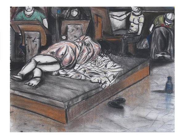 Dark Pink Drawing - Drawing Of A Sleeping Model by Casey Park