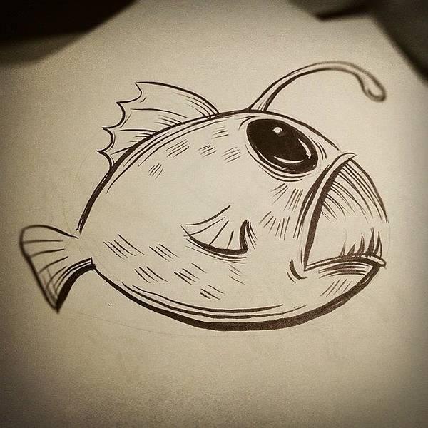 Brush Wall Art - Photograph - #drawing Of #deepseaangler by Jeff Reinhardt