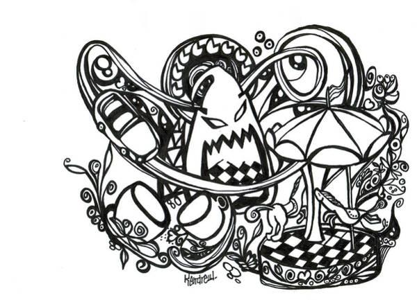 Dark Pink Drawing - Dream by Kendrew Black