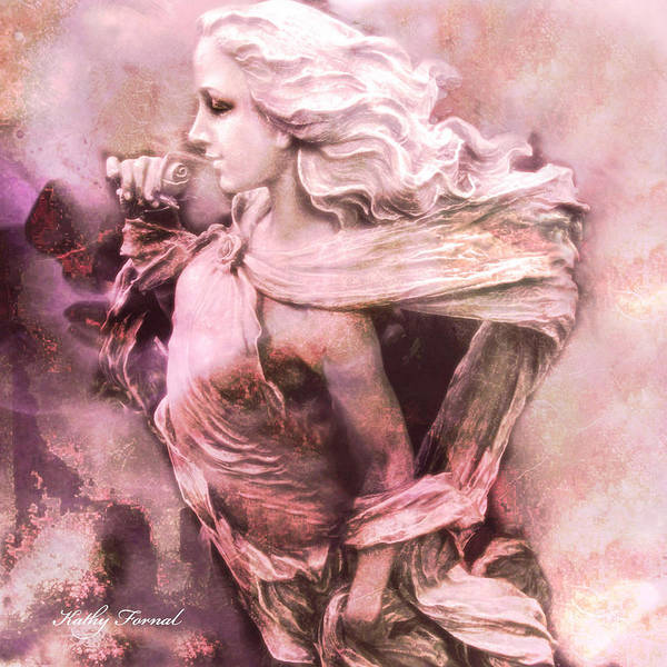 Angelic Digital Art - Dreamy Pink Ethereal Angelic Female With Rose -  by Kathy Fornal