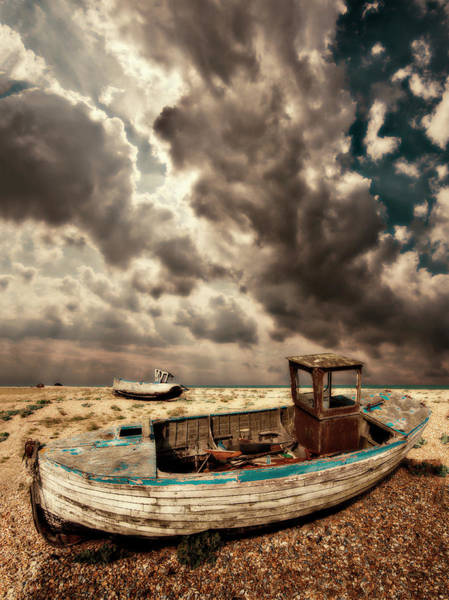 Photograph - Dreamy Wrecked Wooden Fishing Boats by Meirion Matthias