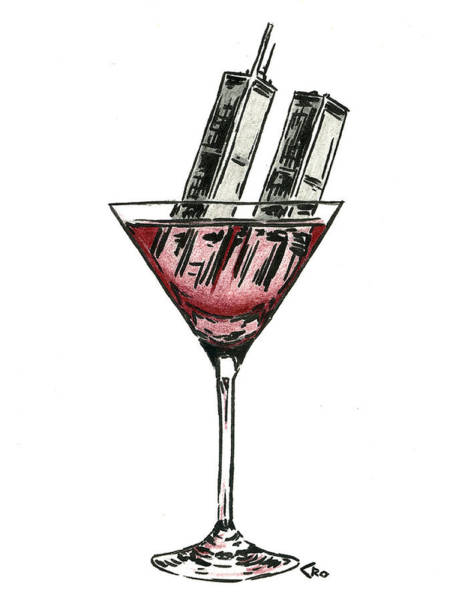 Twin Towers Drawing - Drink To Never Forget by Chris Ortega