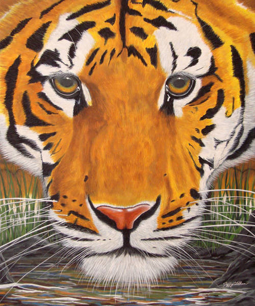 Painting - Drinking Tiger by Jeffrey Oldham
