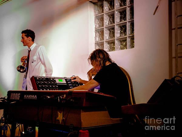 Photograph - Droid In Concert Adam Holzman Jordan Mcclean by Jim DeLillo
