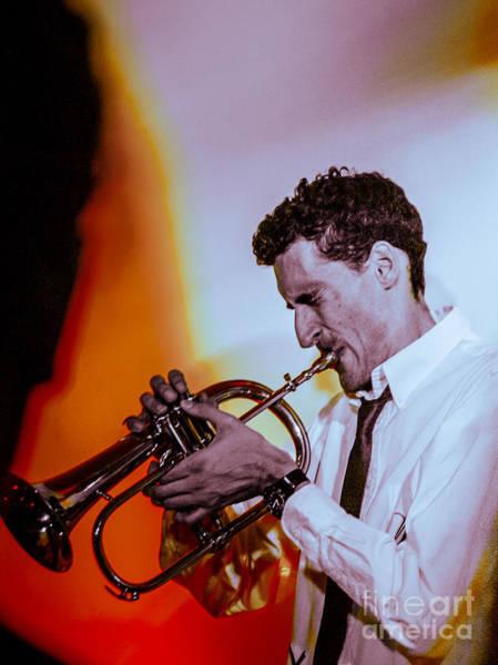 Photograph - Droid In Concert. Droid Jordan Mcclean On Flugelhorn by Jim DeLillo