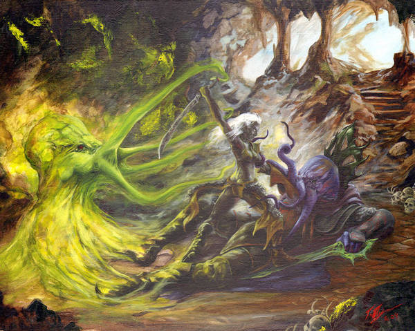 Sword And Sorcery Painting - Drow Vs Mind Flayer by Tracy E Flynn