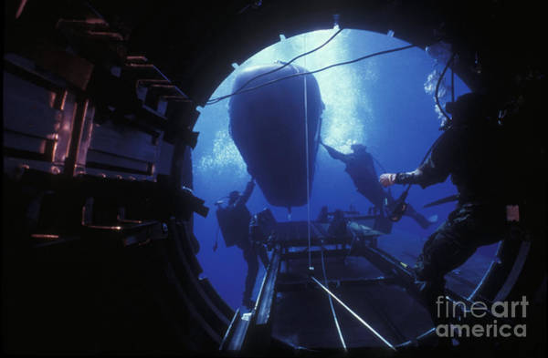 Photograph - Dry Deck Shelter Crewmen Launch A Seal by Michael Wood