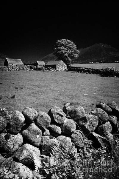 Boundary County Photograph - Dry Stone Wall Farmland In The Mourne Mountains County Down Northern Ireland by Joe Fox