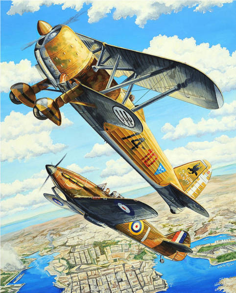 Air War Painting - Duel Over Malta by Charles Taylor