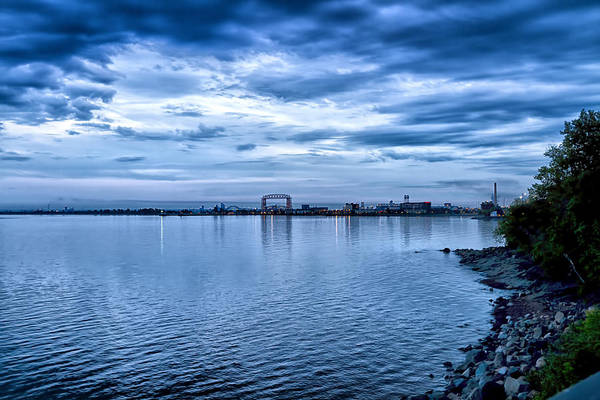 Saint Louis County Photograph - Duluth Minnesota Harbor At Night by Linda Tiepelman