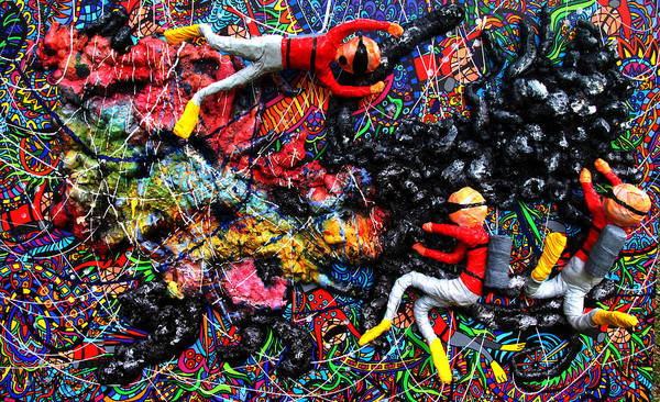 Wall Art - Painting - Dying Coral At The Hands Of Scuba Divers by Karen Elzinga