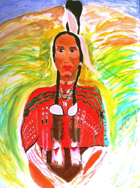 Painting - Eagle Feather Native American by Stanley Morganstein