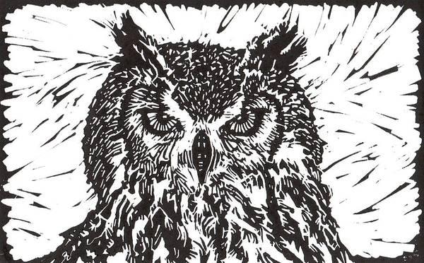 Linoleum Mixed Media - Eagle Owl by Julia Forsyth