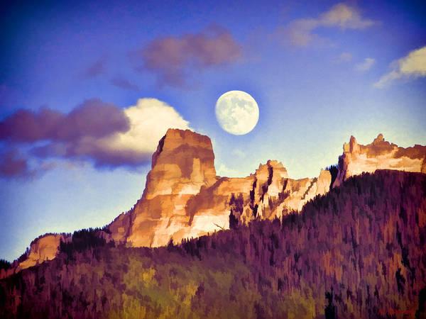 Digital Art - Early Moonrise by Rick Wicker
