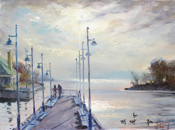 Lake Shore Wall Art - Painting - Early Morning In Lake Shore by Ylli Haruni