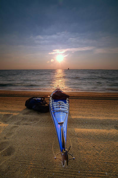 Sandy Point State Park Photograph - Early Morning Row by Edward Kreis