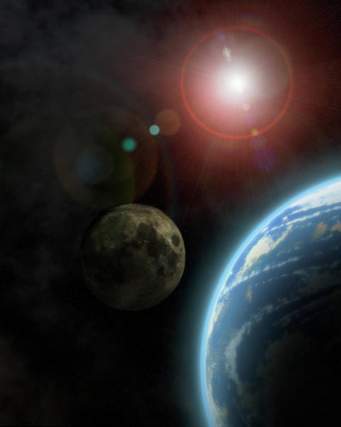 Planets And Moons Digital Art - Earth Like Planet And Moon Bathed In Sunlight by Three Images