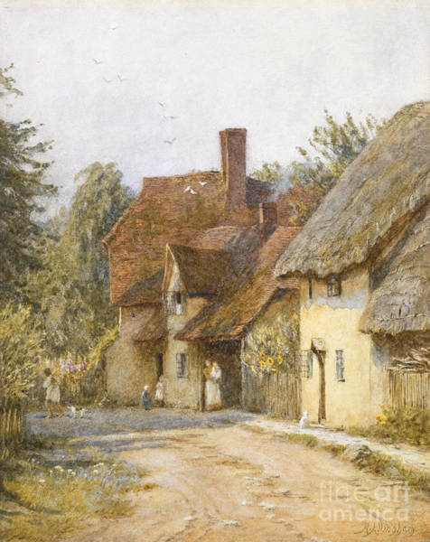 Town Wall Art - Painting - East Hagbourne Berkshire by Helen Allingham
