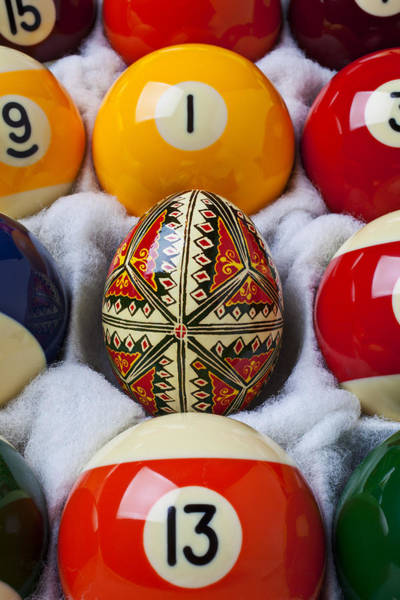Hand Painted Photograph - Easter Egg Among Pool Balls by Garry Gay