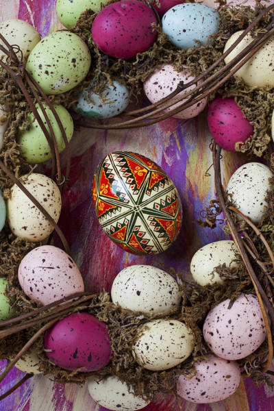 Egg Shell Photograph - Easter Egg With Wreath by Garry Gay