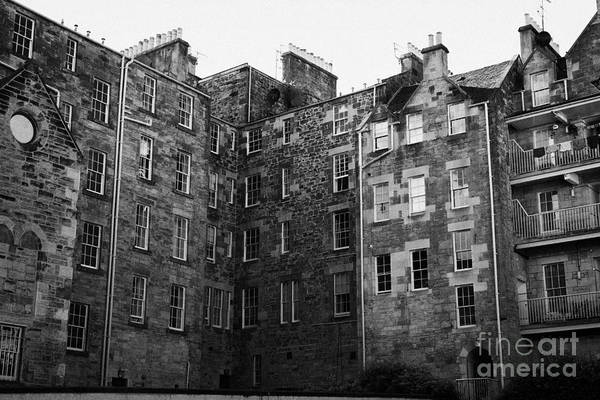 Tenement Photograph - Edinburgh Close Square Tenement Buildings Typical Architecture In The Old Town Scotland Uk United Ki by Joe Fox