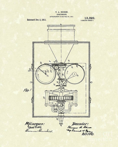 Drawing - Edison Kinetoscope 1911 I Patent Art by Prior Art Design