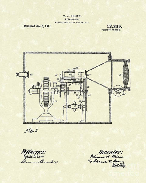 Drawing - Edison Kinetoscope 1911 II Patent Art  by Prior Art Design