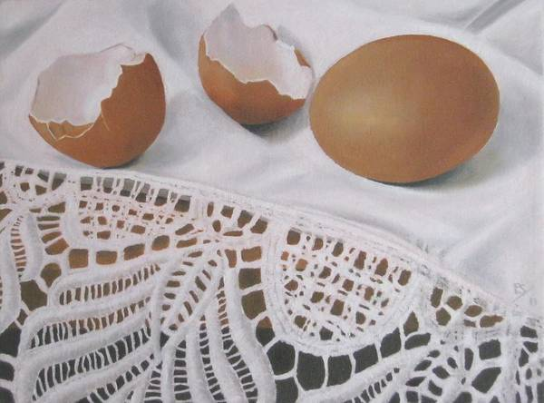 Broken Egg Painting - Egg And Lace by Pera  Schillings