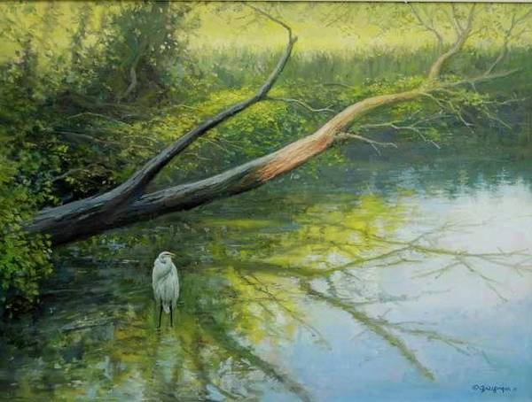 Painting - Egret And Deadfall by Mel Greifinger